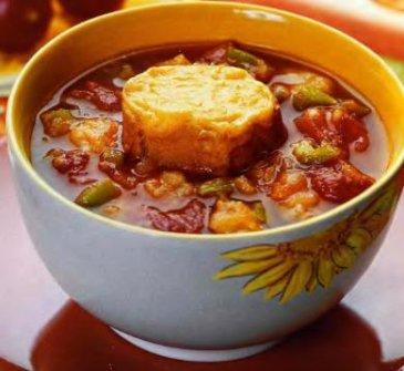 суп томатный с чесночным хлебом