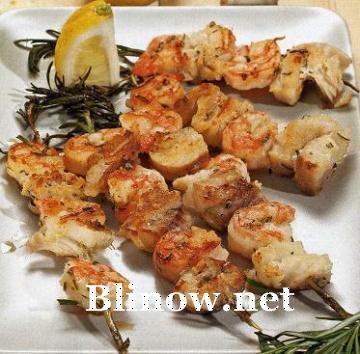 Шашлыки из рыбы с креветками